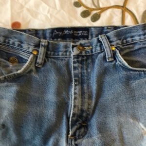 Wrangler jeans! Worn with the holes.